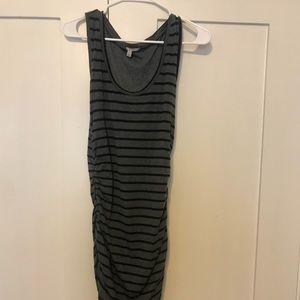 Striped stretchy tee tank dress